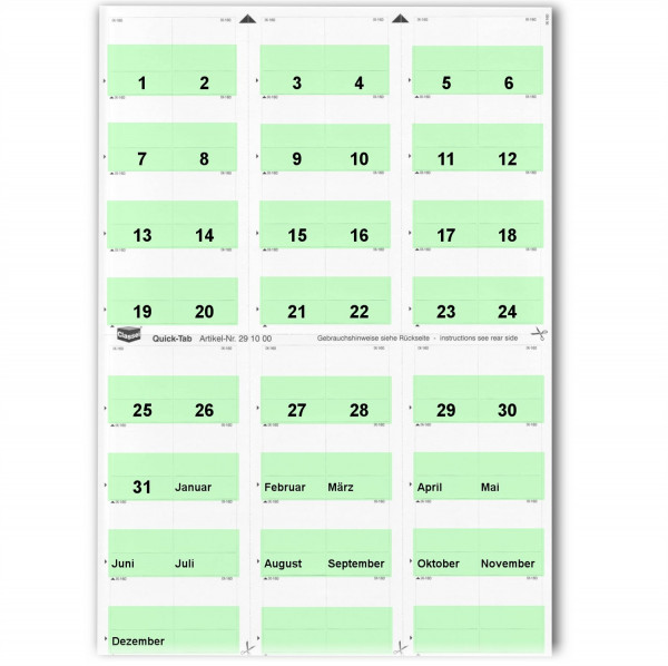 291021T Daten-Tabs hellgrün 1-31/Jan.-Dez.