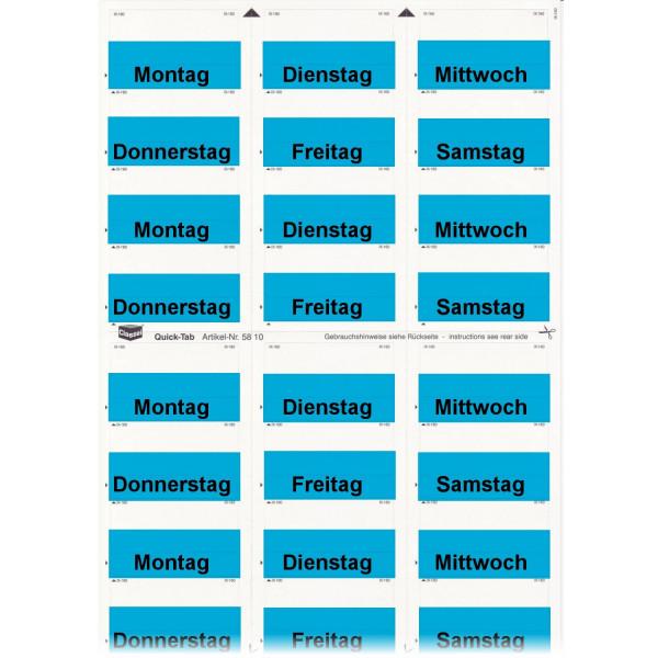 581003WT Daten-Tabs blau mit Druck Montag-Samstag