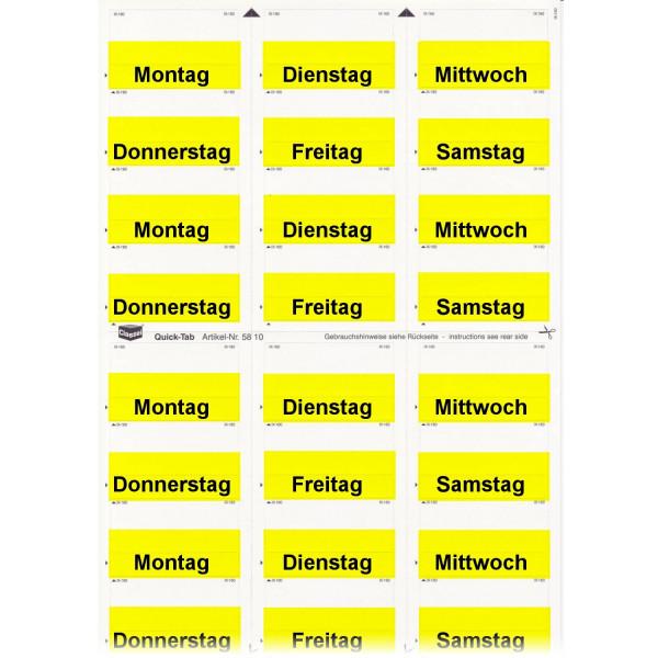 581001WT Daten-Tabs gelb mit Druck Montag-Samstag