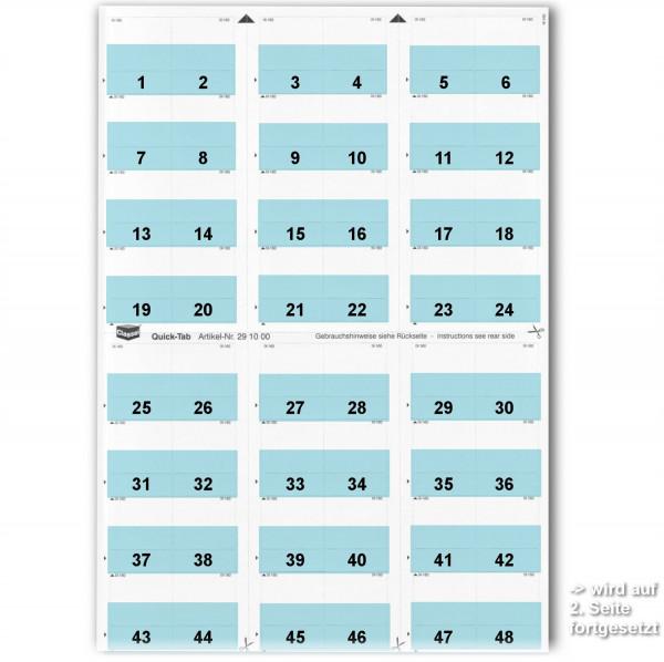 291008W Daten-Tabs hellblau, 1-52 (2 Bögen)