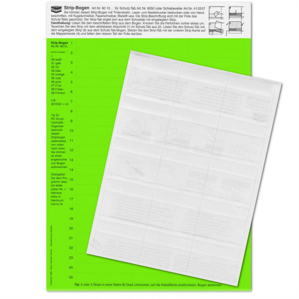 601006P Strip-Tabs-Pck. grün 10x57,5mm