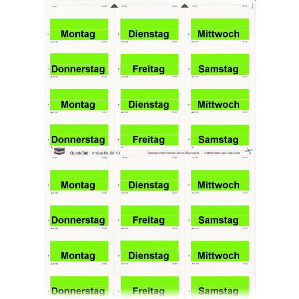 581006WT Daten-Tabs grün mit Druck Montag-Samstag