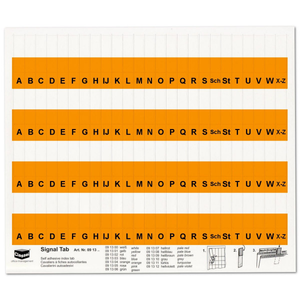 091304A Alpha-Tabs 10mm orange, A-Z