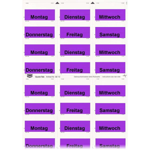 581015WT Daten-Tabs violett mit Druck Montag-Samst